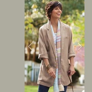 SOFT SURROUNDINGS Oversized Linen Blazer Tan Khaki